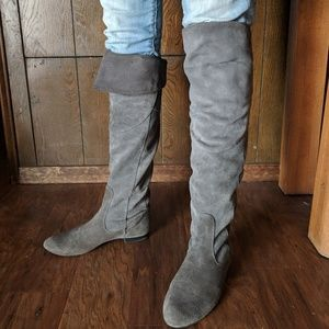 Tall gray suede boots